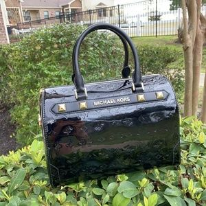 Michael Kors Kara LG Duffle Metallic Leather Bag